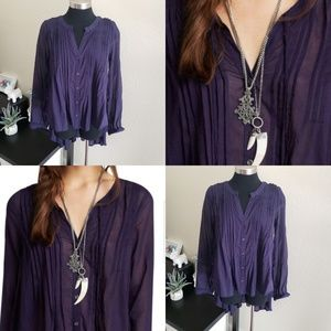 Free people Sz S Tunic sheer high low botton